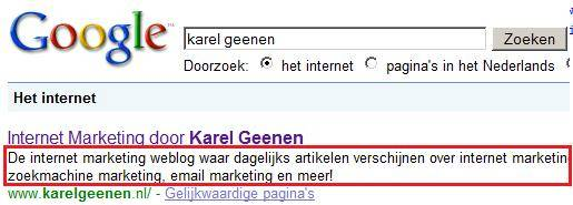 meta description tag van Karel Geenen